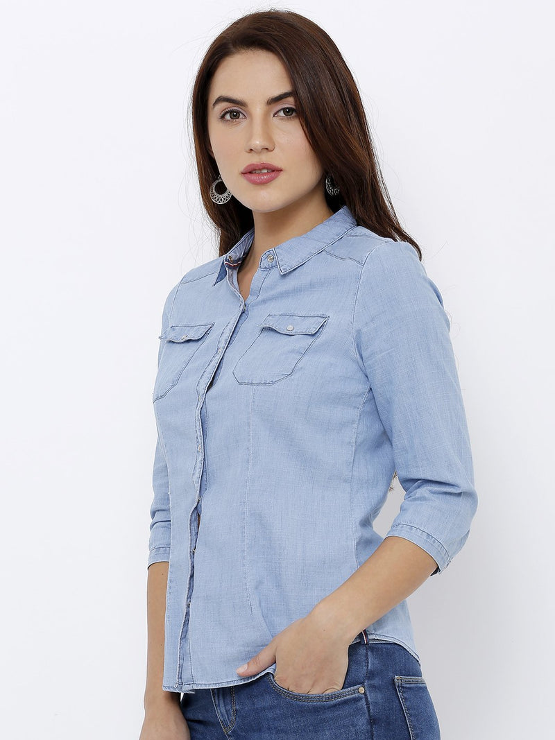 Women Solid Denim Shirt (6251638522031)