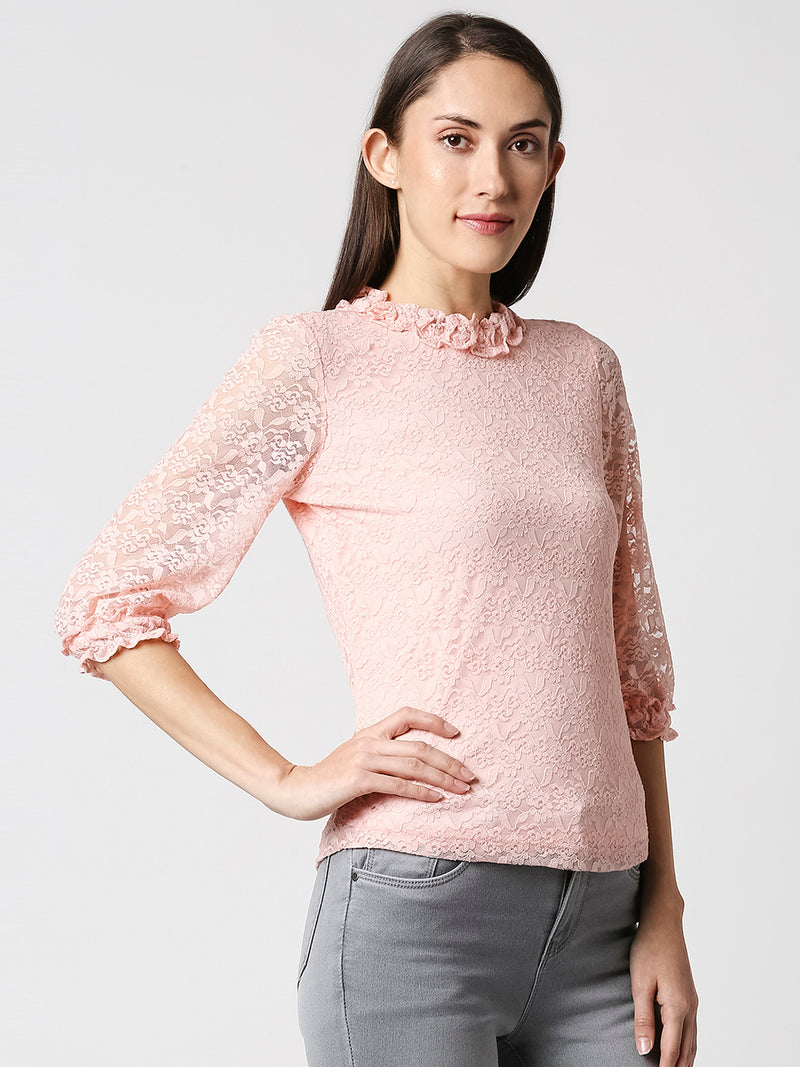 Women Embroidered Regular Lace Top (6319546826927)