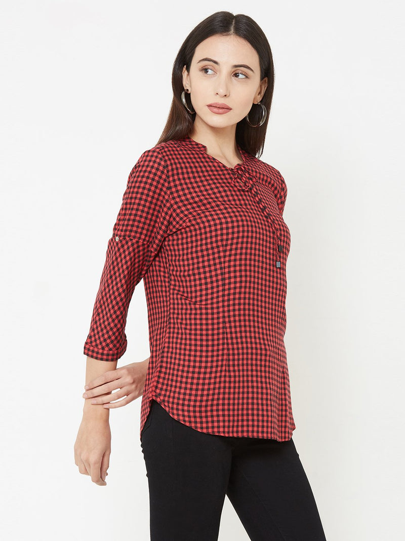 Woven Red & Black Checks Top (6289950113967)