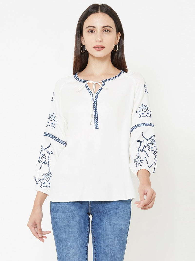 Off White Woven Printed Top (6289950179503)