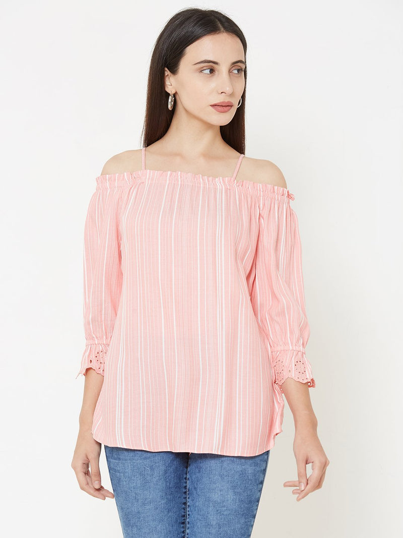 Woven Peach & White Off Shoulder Top (6289950310575)