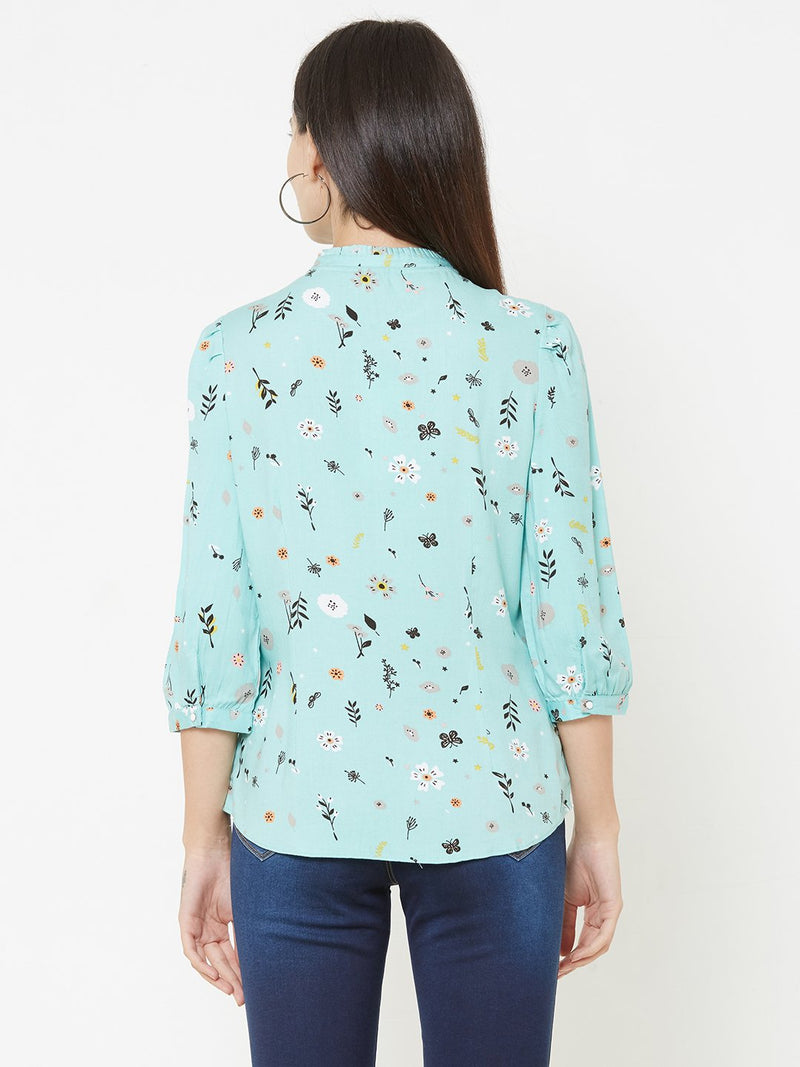 Green Woven Printed Top (6289950408879)