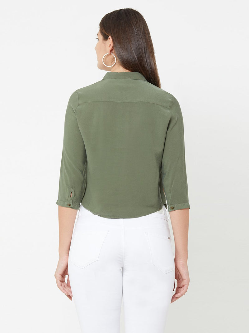Olive Wovens Crop Shirt (6289946935471)