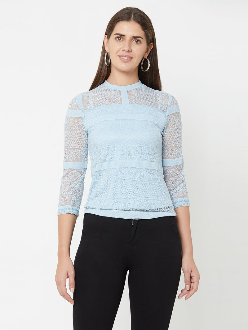 Aqua Blue Knitted Lace Top (6289947033775)