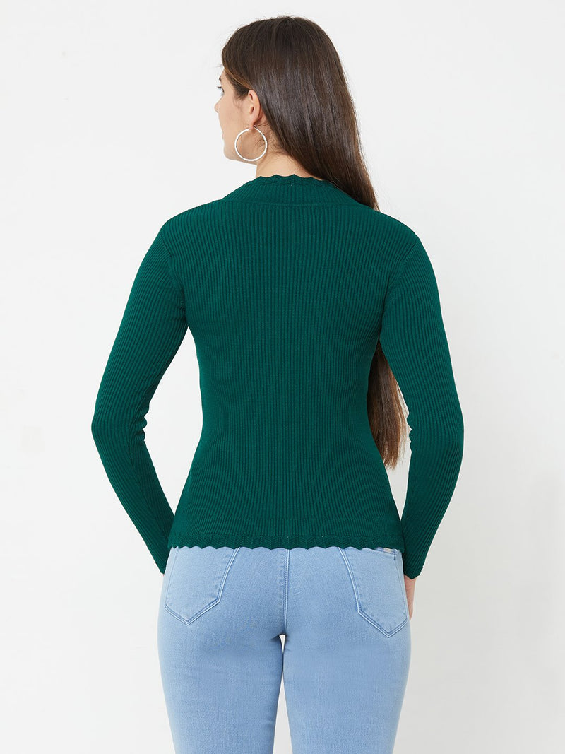 Emerald Green Knitted Sweater (6289947852975)