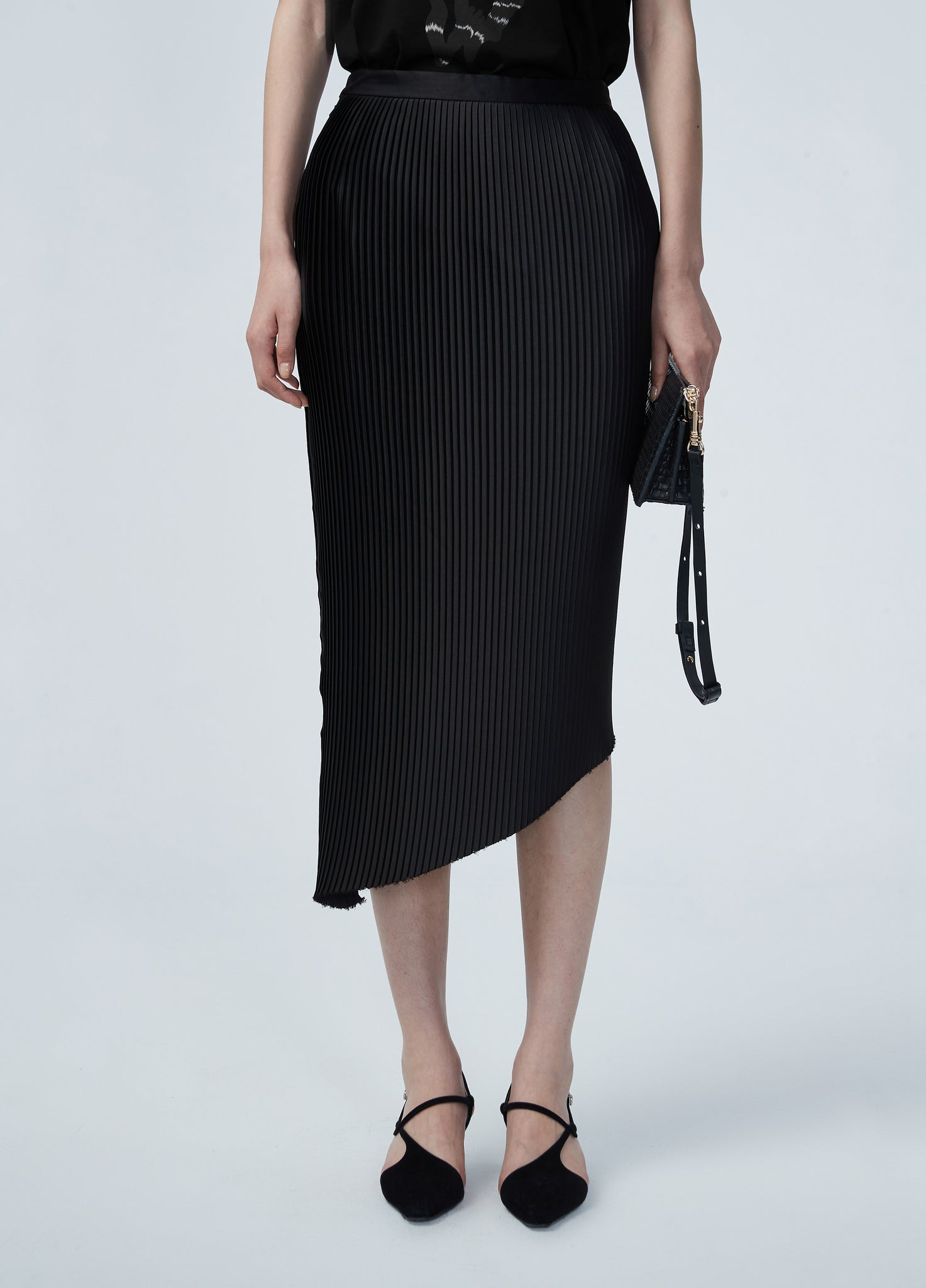JNBY Pleated Asymmetric Hem Skirt