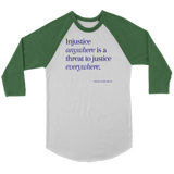 T-shirt| Canvas Raglan 3/4 Sleeve| BLM| Injustice anywhere...