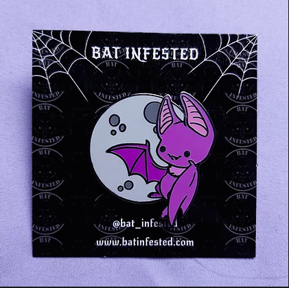 FLAWED Moon Bat Enamel Pin
