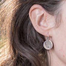 Load image into Gallery viewer, Carved Arrow Disc Ear Wire Earrings