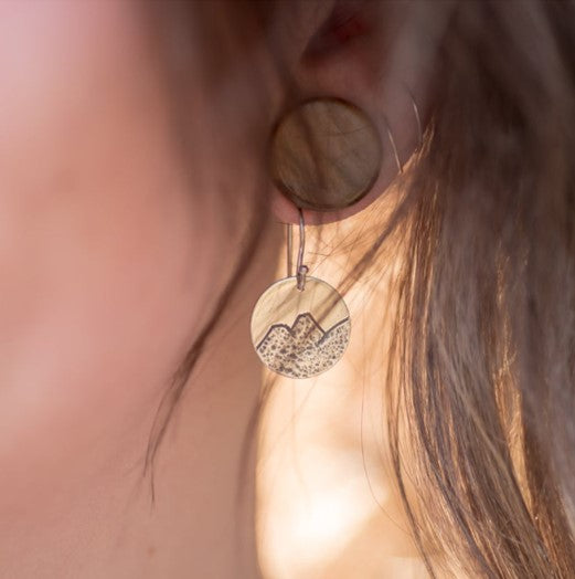 Carved Mountain Disc Ear Wire Earrings