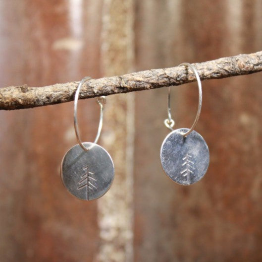 Carved Tree Disc Hoop Earrings