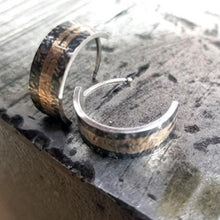 Load image into Gallery viewer, Gold & Silver Patinaed Cuff Earrings