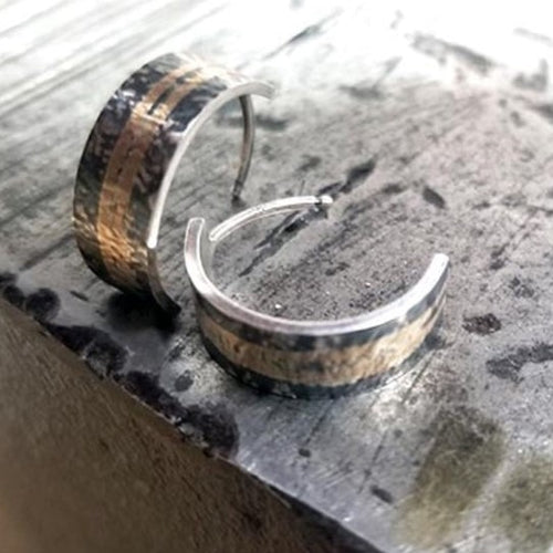 Gold & Silver Patinaed Cuff Earrings