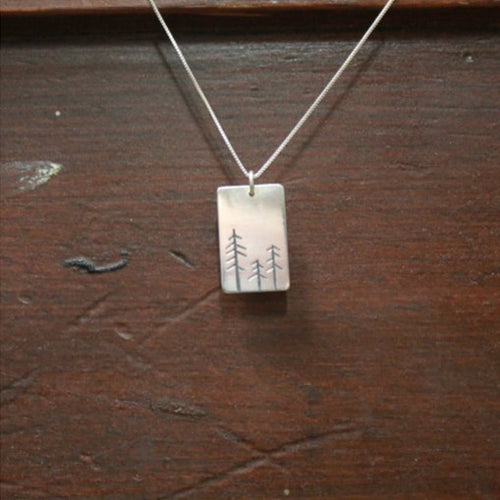Rectangle Carved Tree Necklace