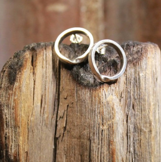 Twisted Narrow Hoop Stud Earrings