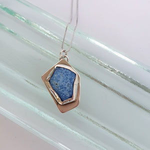 Blue opal silver necklace