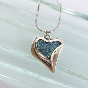 Heart. Silver necklace with blue opal