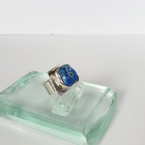 Silver ring with blue opal