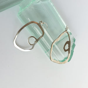 Burnt abstract silver earrings