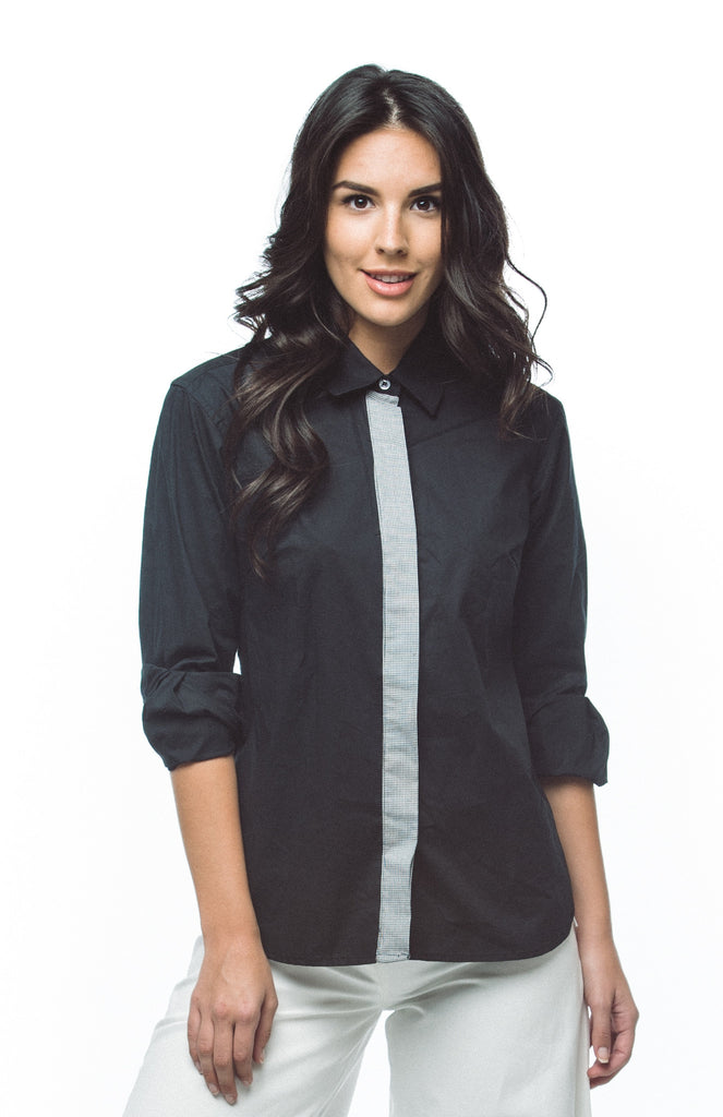 Women's Hidden Placket Collared Shirt