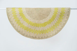 Sunburst Mat | 4' Round | Natural Base | Lime Green