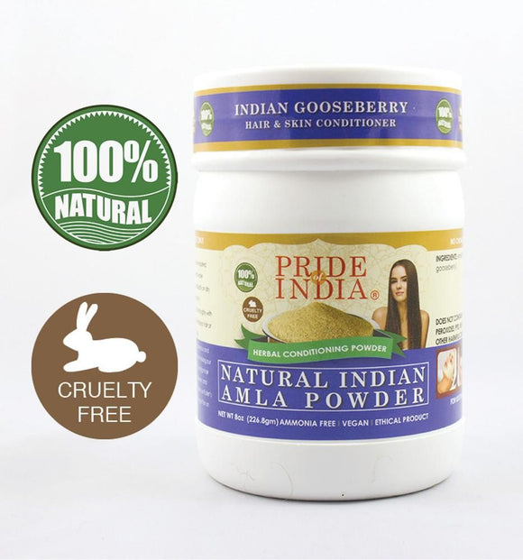 Natural Amla Gooseberry Herbal Hair & Skin Conditioning Powder, Half Pound (8oz - 227gm) Jar