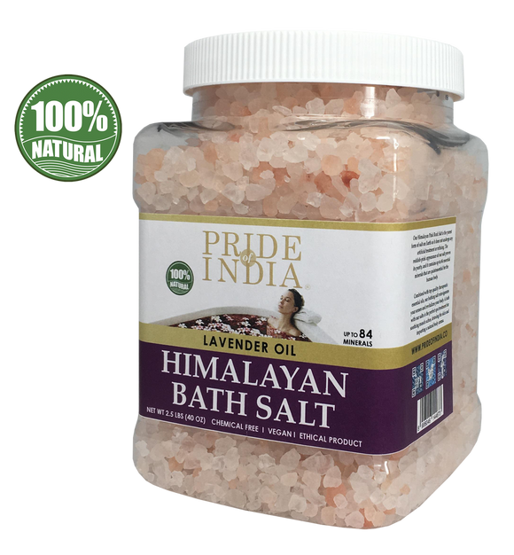 Himalayan Pink Bathing Salt - Enriched w/ Lavender Oil and 84+ Minerals, 2.5 Pound (40oz) Jars