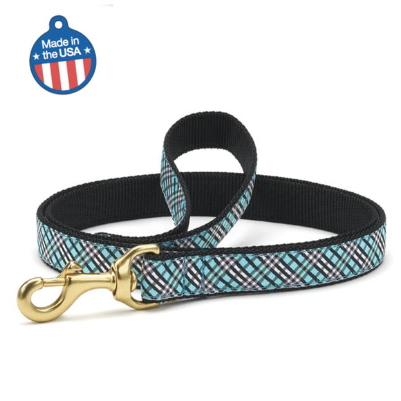 Aqua Plaid Leash