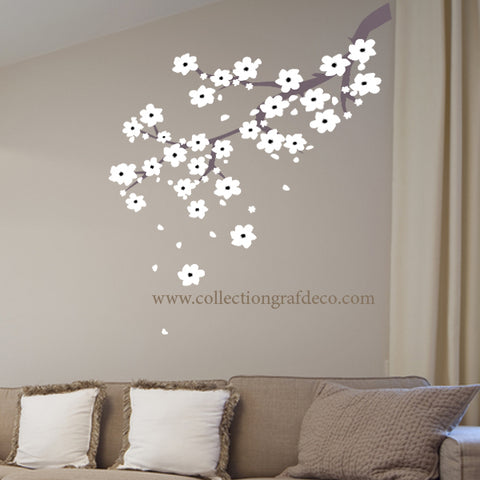 TREE BRANCH AND WHITE FLOWERS - WALL STICKERS
