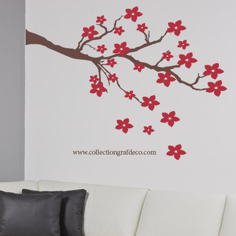 TREE BRANCH AND RED FLOWERS - WALL STICKERS