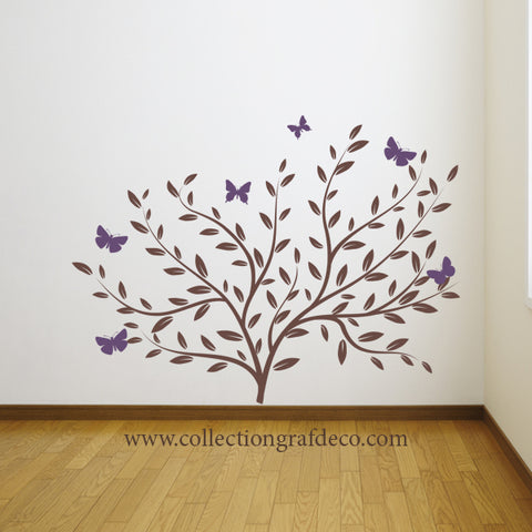 SHRUB AND BUTTERFLIES - WALL STICKERS