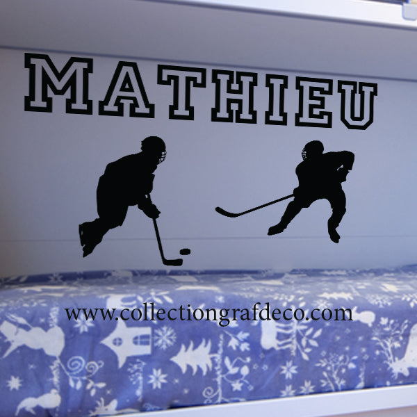 PERSONALIZED NAME + HOCKEY PLAYERS - STICKERS