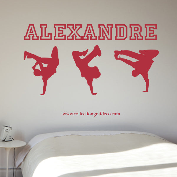 PERSONALIZED NAME + BREAK DANCERS - WALL STICKERS