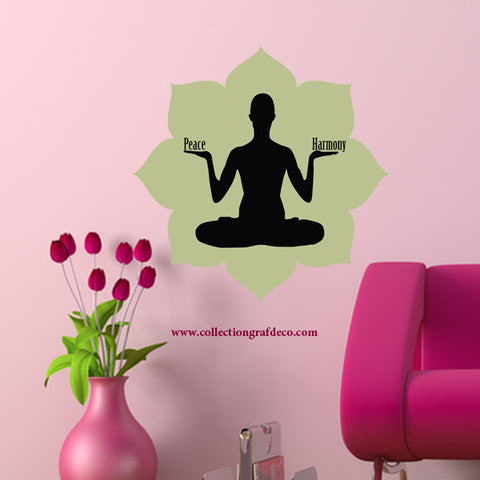 FLOWER AND SILHOUETTE - WALL STICKERS