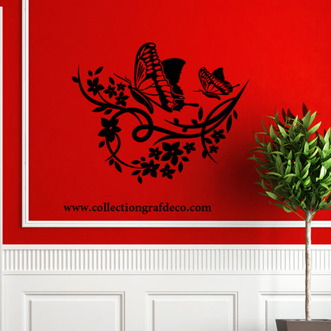 2 BUTTERFLIES AND FLOWERING BRANCH - WALL STICKERS
