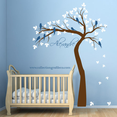 TREE AND CUSTOM NAME # 1 - WALL STICKERS