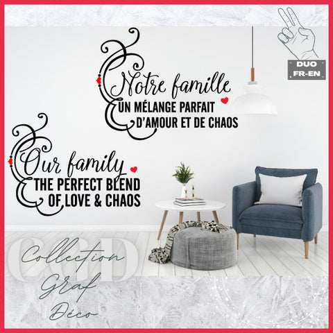 DUO : Notre famille un mélange parfait d'amour et de chaos | Our family the perfect blend of love & chaos - Digital EPS, DXF, SVG, PNG, JPG