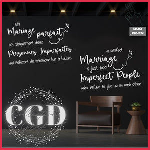 DUO : Un mariage parfait est simplement deux personnes imparfaites  | A perfect marriage is just two imperfect people - Digital EPS, DXF, SVG, PNG, JPG
