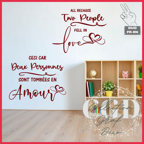 DUO : Ceci car deux personnes sont tombées en amour  | All because two people fell in love - Digital EPS, DXF, SVG, PNG, JPG