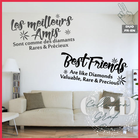 DUO : Les meilleurs amis sont comme des diamants | Best friends are like diamonds - Digital EPS, DXF, SVG, PNG, JPG