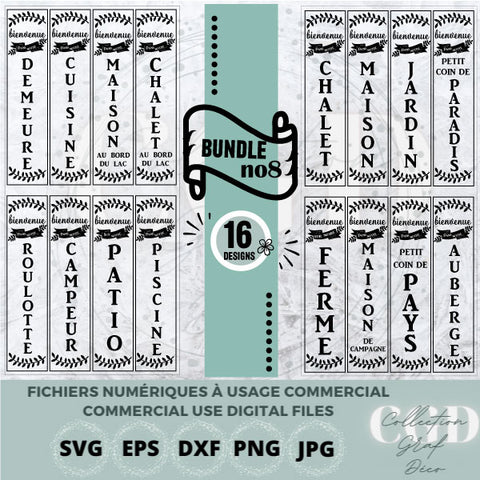 SVG Bundles - No 8 Porch Sign stickers, frames, Print on demand, Farmhouse Sign or Sign Maker - EPS, DXF, SVG, PNG, JPG