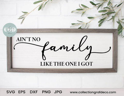 Ain't no family like the one I got - Scripture Digital Cut File - Vector EPS, DXF, SVG, PNG, JPG