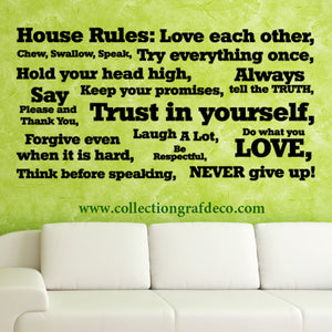HOUSE RULES - LETTRAGES AUTOCOLLANTS MURAUX