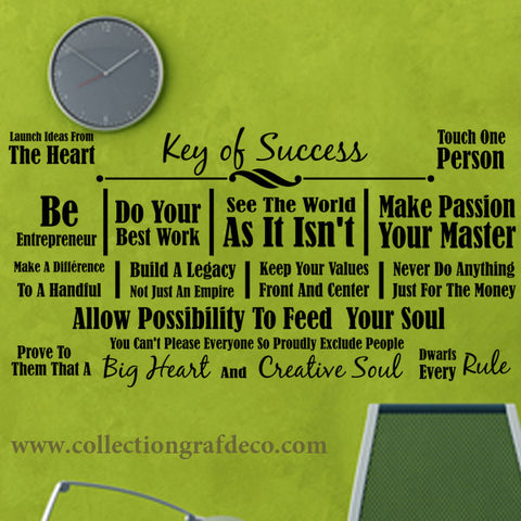 KEY OF SUCCESS - LETTRAGES AUTOCOLLANTS MURAUX