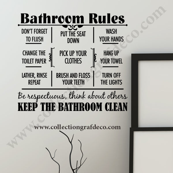 BATHROOM RULES - STICKERS MURAUX
