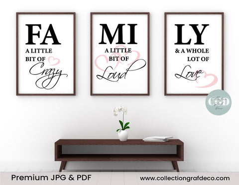FAMILY a little bit of crazy, a little bit of loud, Set of 3 Prints, Family quotes, Home Decor signs