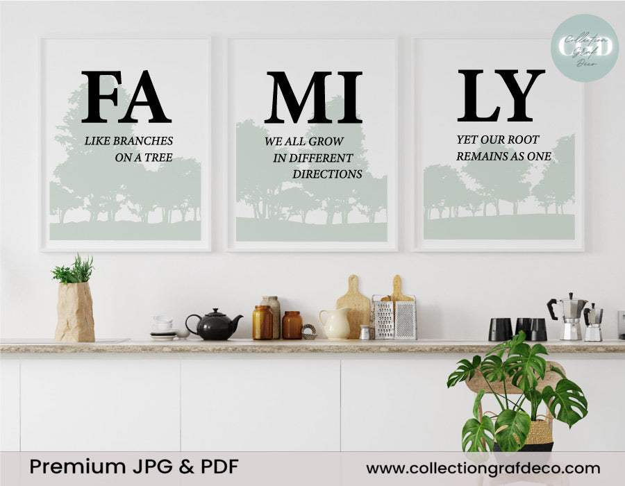 FAMILY Like branches on a tree, Lot de 3 images, Art mural minimaliste IMPRIMABLE