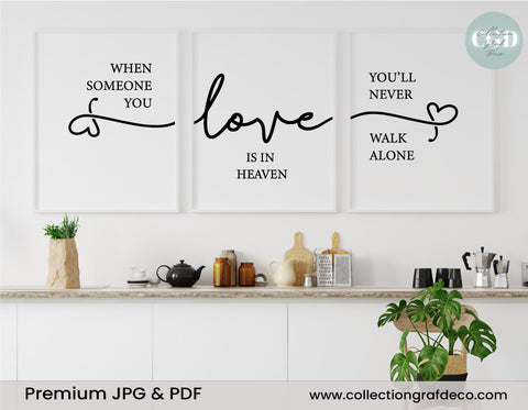 When someone you love is in heaven, Lot de 3 images, Art mural minimaliste IMPRIMABLE