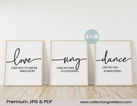 Love like you've never been hurt, Lot de 3 images, Art mural minimaliste IMPRIMABLE