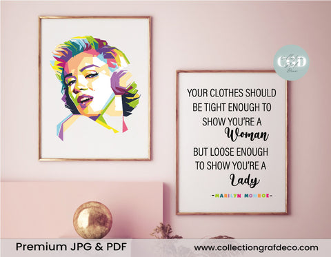 Your clothes should be tight enough, Marilyn Monroe, Lot de 2 images, Art mural IMPRIMABLE